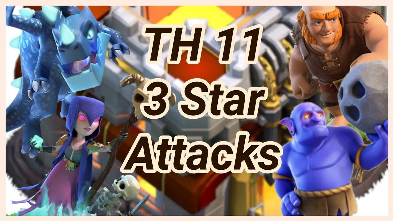 TH 11   3 Star War Attack   hog rider   balloons   lava