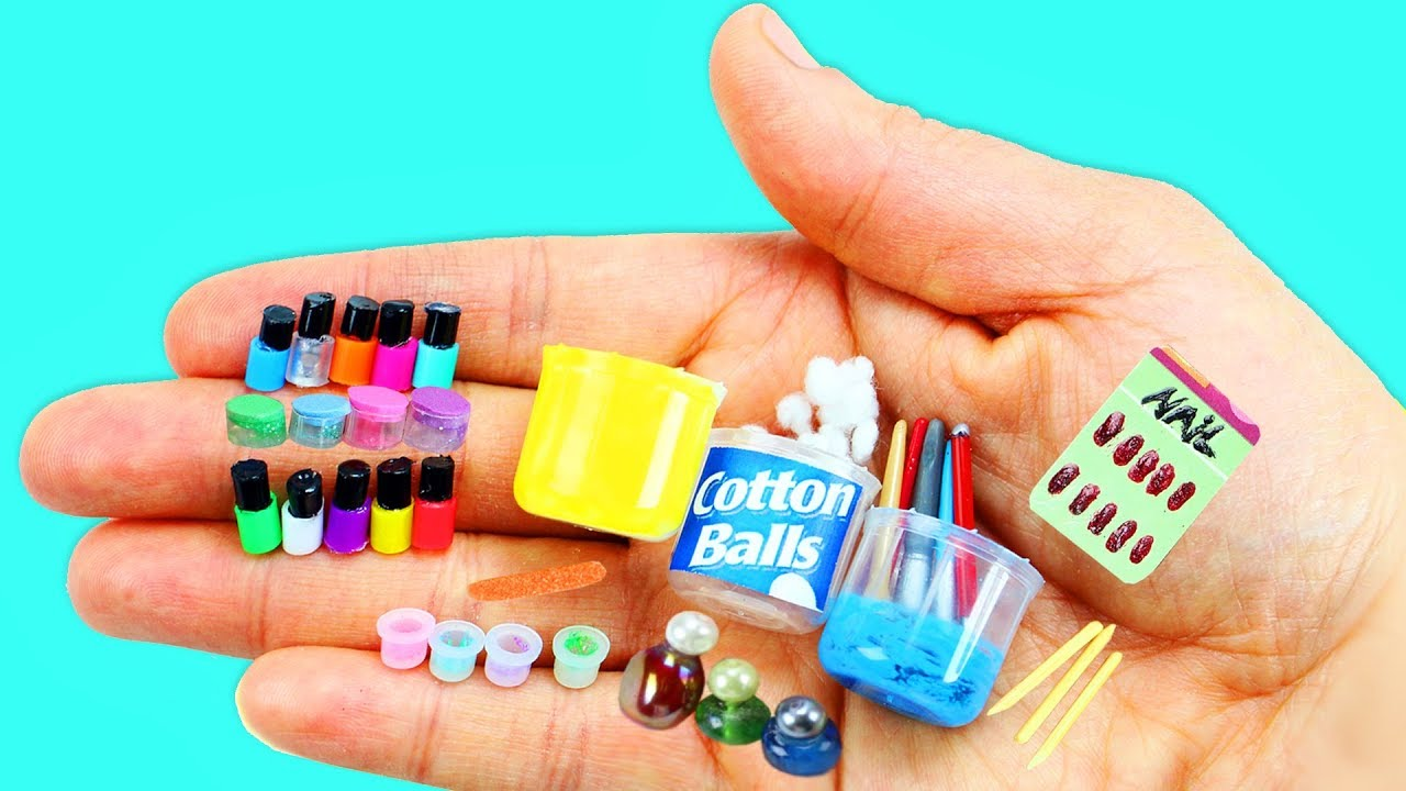 Cómo Hacer Productos En Miniatura Para Las Uñas Manicura 10 Manualidades Fáciles Para Muñecas Youtube