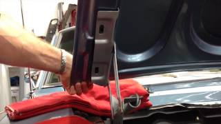 Hood removal on Oscar's 1967 Shelby GT350 at MustangMedic - Day 13