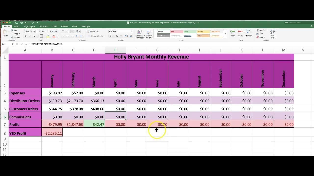 Senegence Lipsence Spreadsheet Revision