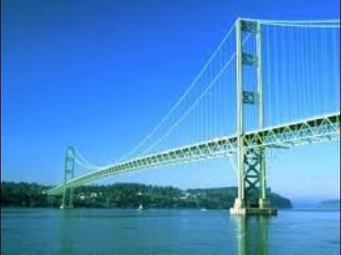 "Tacoma Narrows Bridge, aka: ""Galloping Gertie"" With a ride across the new ""Sturdy Gertie"" !"