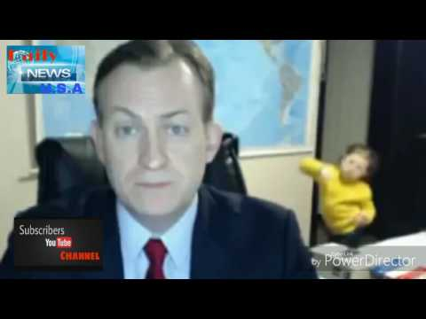 Expert in live television interview with BBC on South Korea gatecrashed by his children