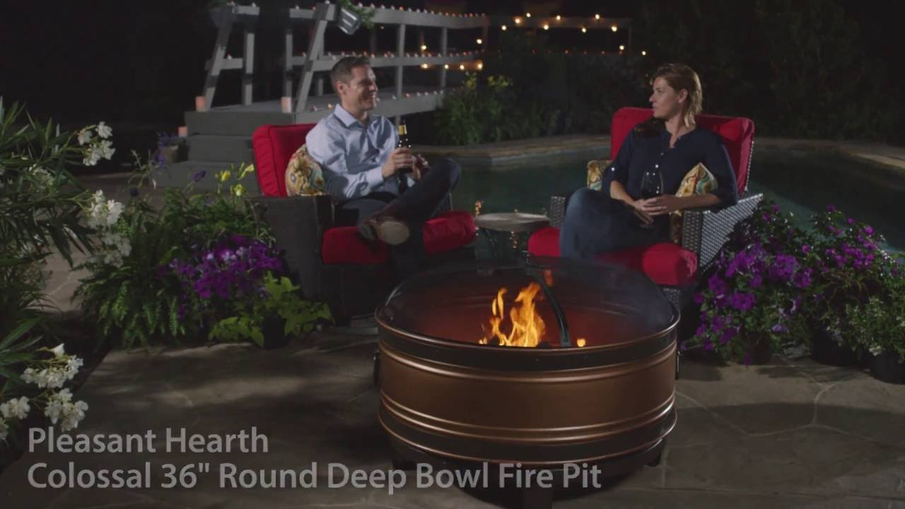 Pleasant Hearth Ofw650r Colossal 36 Round Deep Bowl Fire Pit Youtube