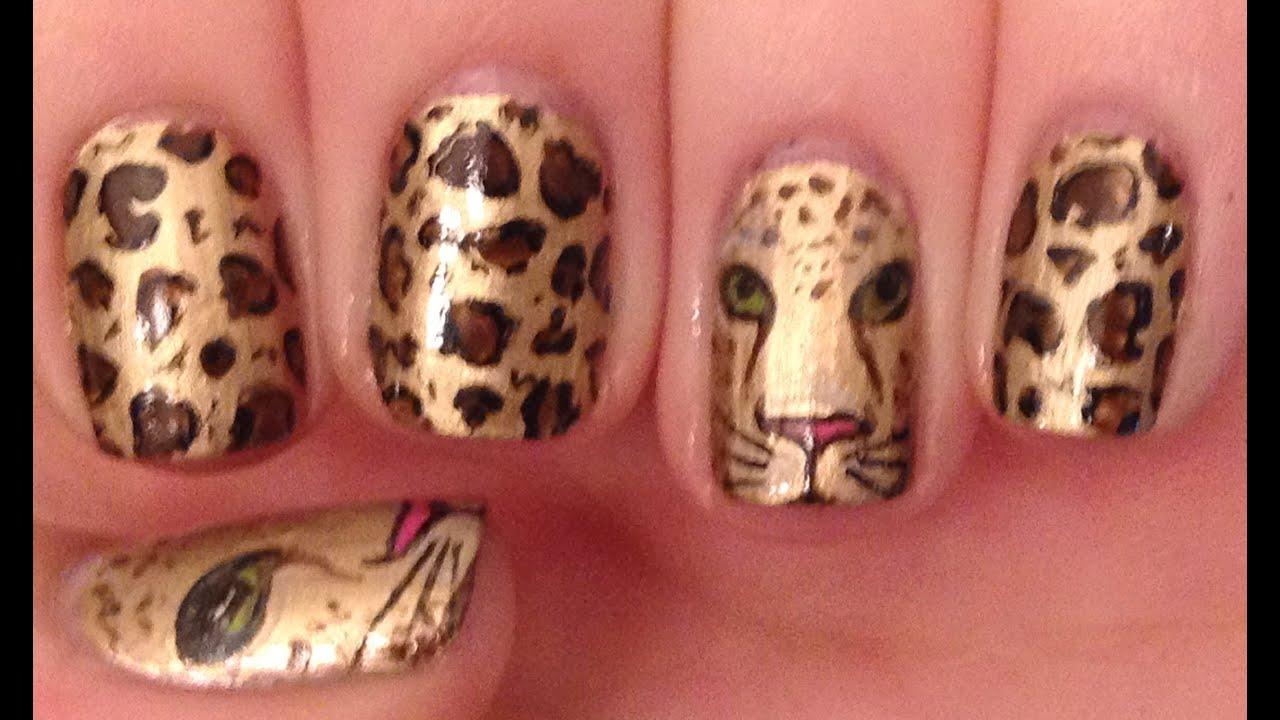 Leopard Face Nail Art Tutorial - YouTube