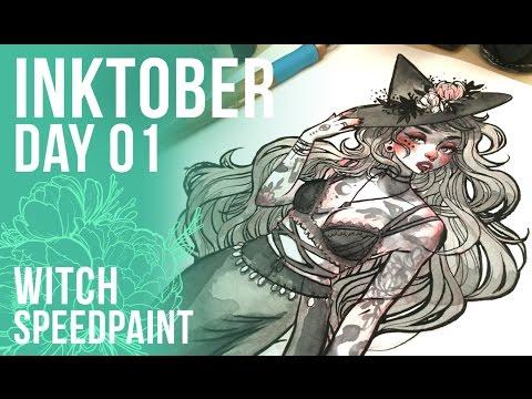 Inktober Day 01 Witch Speedpaint // jacquelin deleon