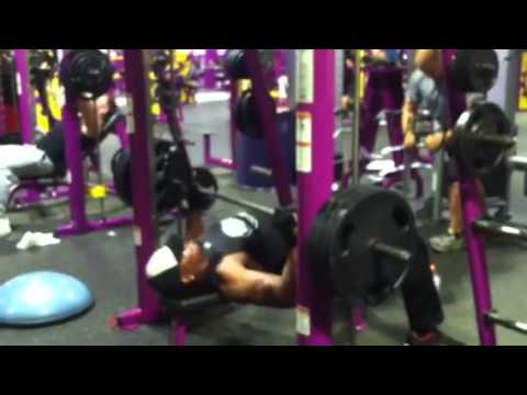 j ron at planet fitness gym bench press 315lbs x 10 reps