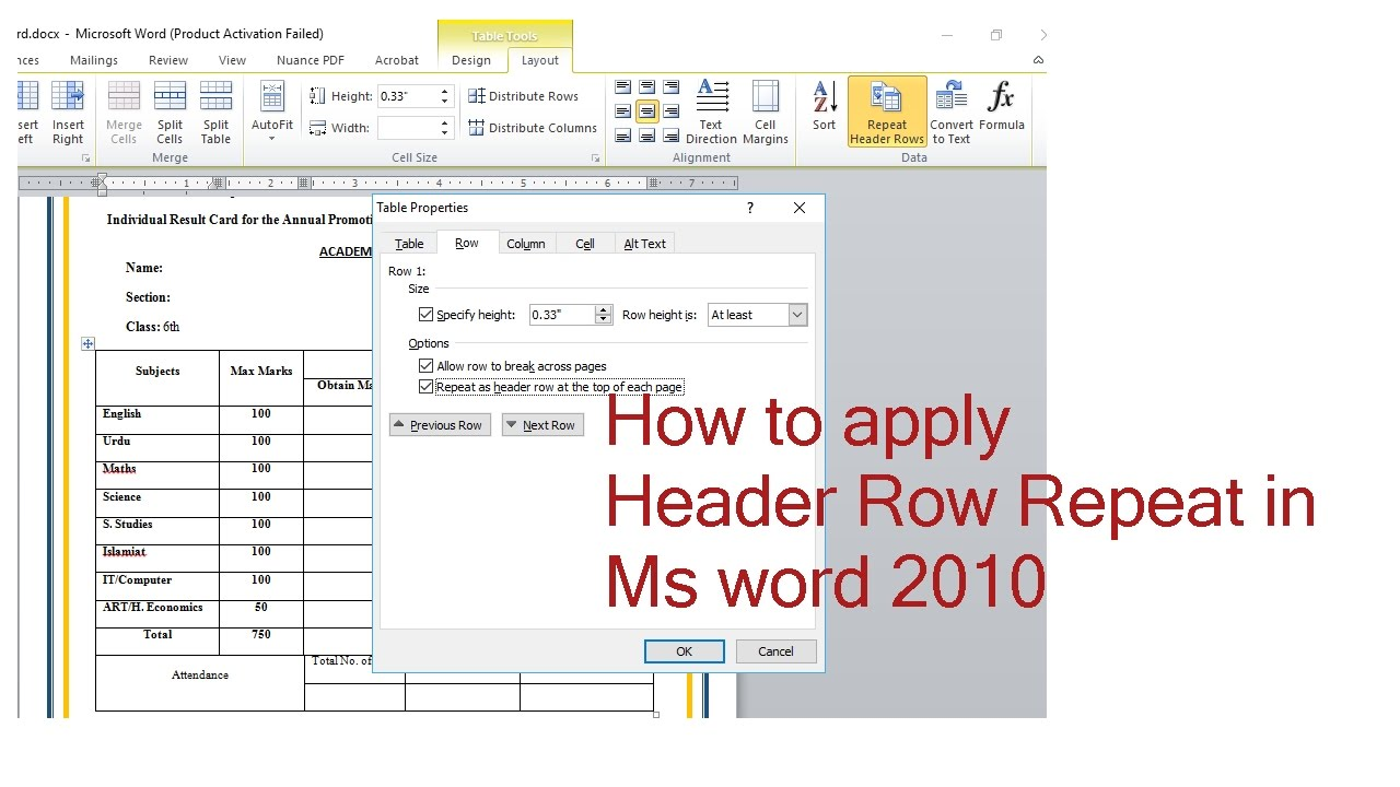 how to apply header row repeat in ms word 2010(microsoft word) for Printing