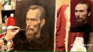 Портрет бородатого мужчины - Обучение живописи. Портрет, 39 серия