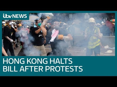 Hong Kong suspends controversial extradition bill after protests | ITV News