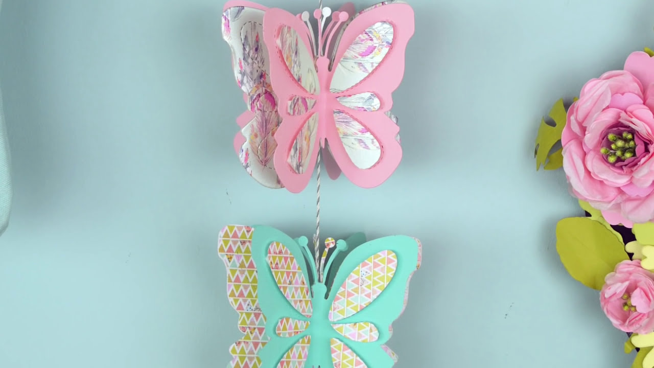 Quick make create a hanging butterfly decoration youtube for Butterflies for crafts and decoration