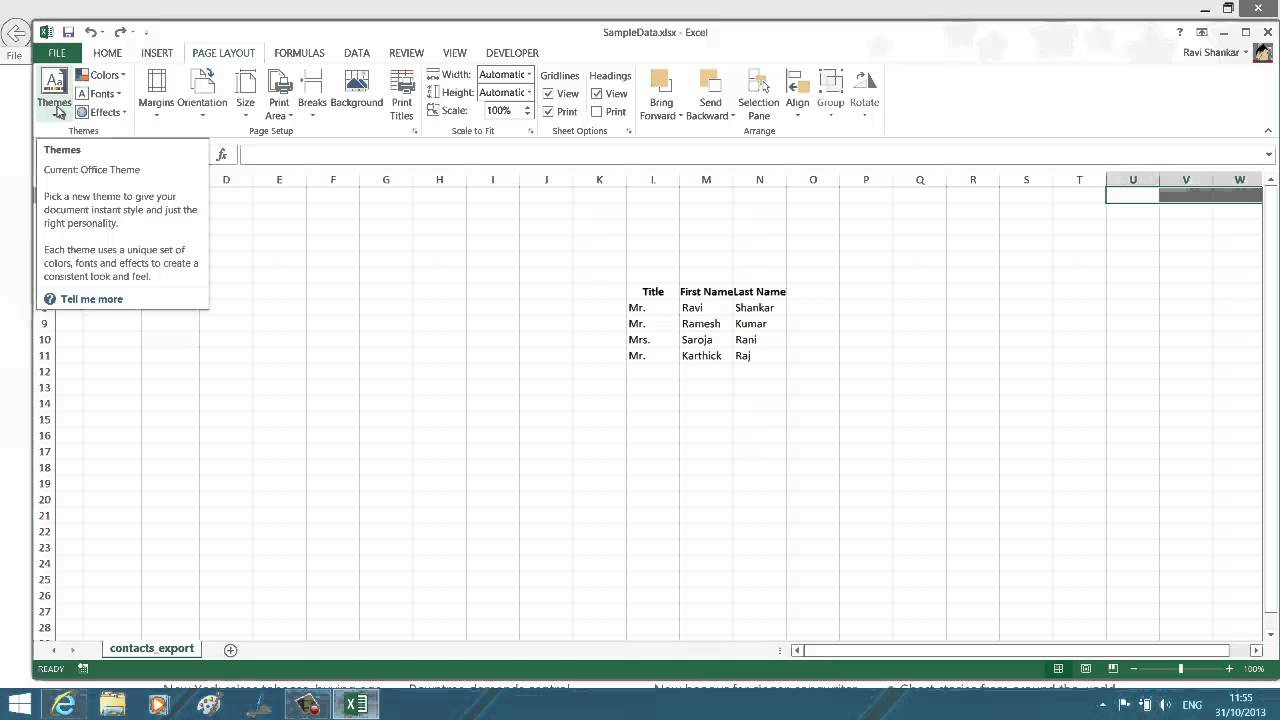 apply themes to worksheet in excel 2013