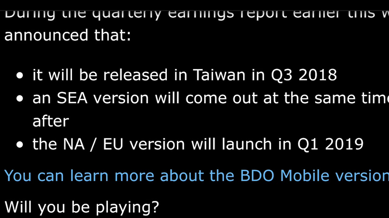 Black desert mobile global release? When do we expect it-news and update