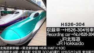 JR北海道 北海道新幹線→東北新幹線はやぶさ24号H5系走行音 JR Hokkaido Tohoku Shinkansen Hayabusa No.24 Series H5 Running sound