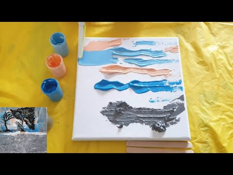 How to paint a tree. Abstract Landscape. Demo Tutorial. Easy DIY