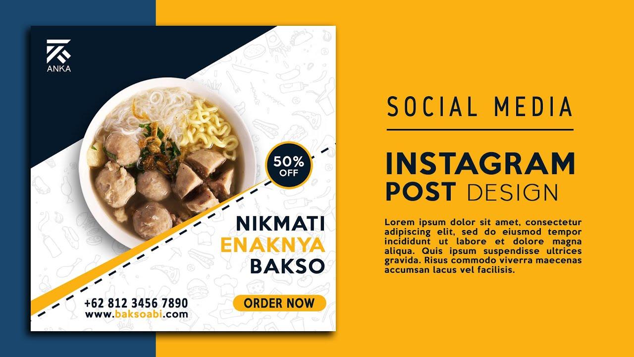 Tutorial Desain Iklan Produk Makanan INSTAGRAM POST | Photoshop