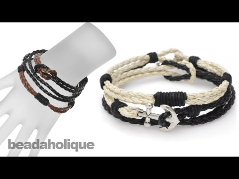 Instructions for the Braided Faux Leather Bracelet Trio Kit
