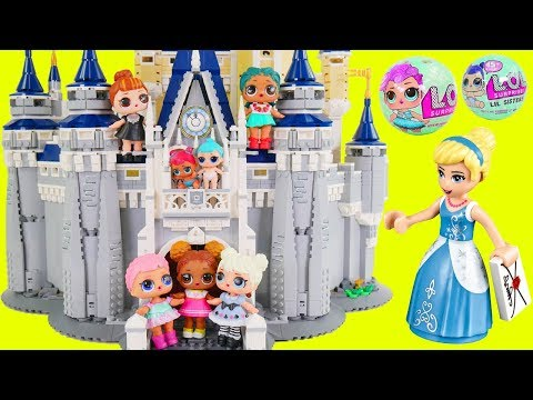 LOL Surprise Dolls Lil Sisters visit Lego Disney Castle