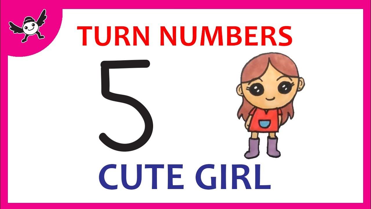 How To Draw a CUTE GIRL Using Number 5 – Very Easy and Fun Doodle Art ✔
