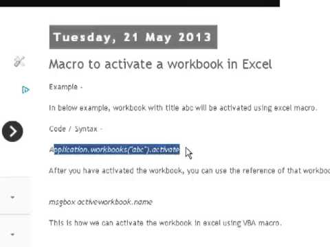 Macro to activate a workbook in Excel - YouTube
