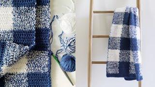Navy Gingham Crochet Blanket