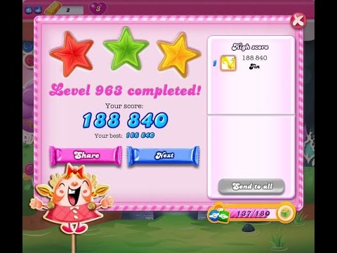 Candy Crush Saga Level 963     ★★★   NO BOOSTER