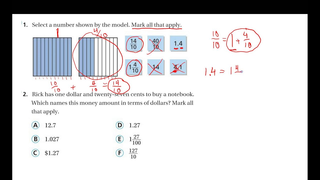 4th Grade Math Chapter 9 Test Review #1 and 2