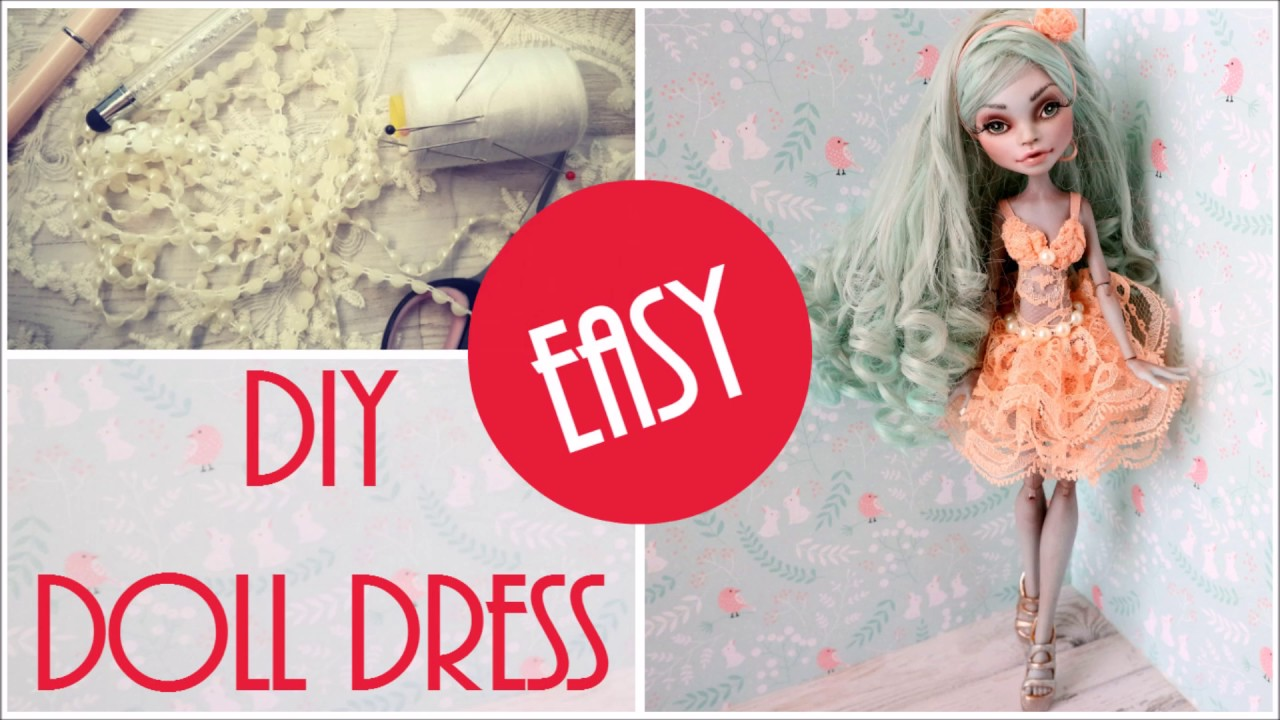 Pretty Doll Dress Easy - How to Make DIY Craft Tutorial / Monster High, Barbie Lace Cocktail Dress