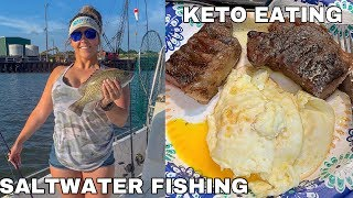 Keto What I Eat in a Day | Catching Saltwater Fish & Getting Stranded... | Clean With Me