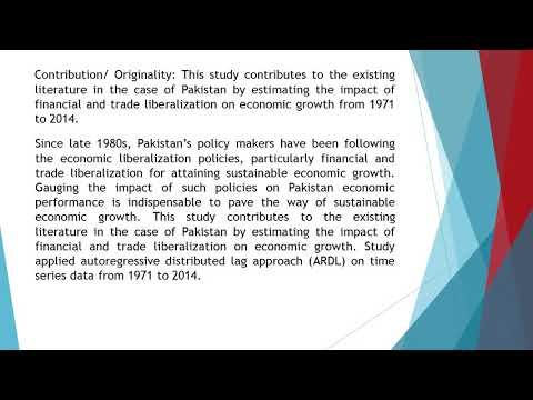 Economic Liberalization and Economic Growth An Empirical Analysis of Pakistan  AEFR 712 1256 1302