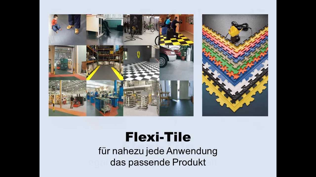 video zu flexi tile pvc bodenbelag f r garage werkstatt und mehr youtube. Black Bedroom Furniture Sets. Home Design Ideas