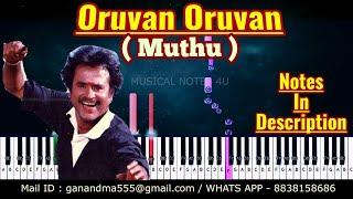 Oruvan Oruvan mudhalali Piano Notes & Chords { HD AUDIO } { Ar Rahman } { MUTHU } Synth tutorial