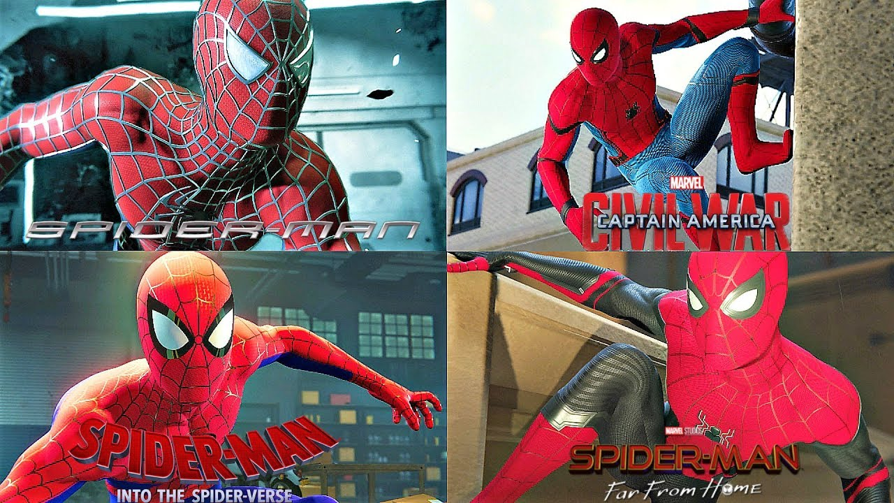 All Movie Suits Gameplay - SPIDER-MAN PS4 (2002 - 2019)