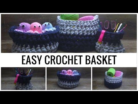 Crochet Tutorial: How To Crochet A Basket - T-shirt Yarn Basket