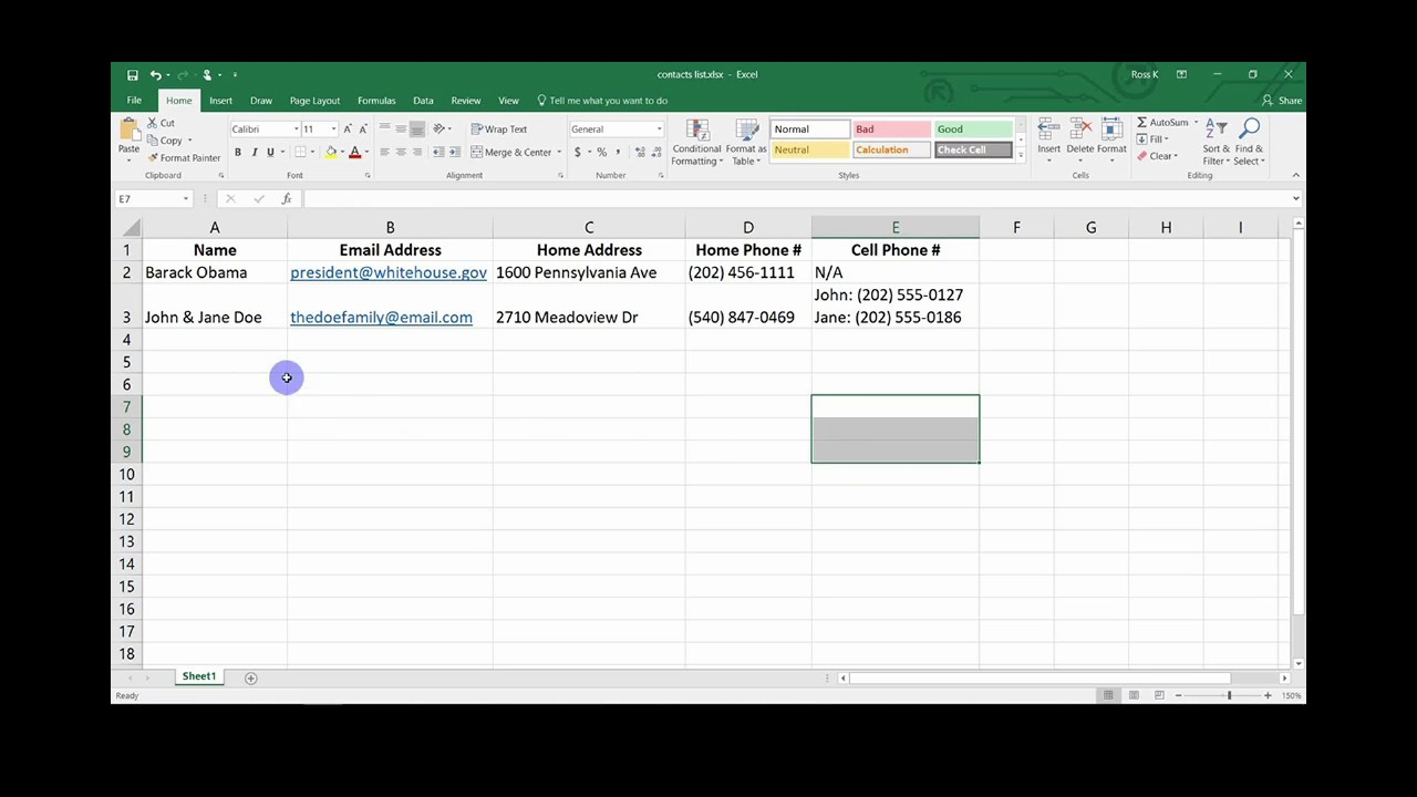 Excel Contacts List Tutorial Youtube