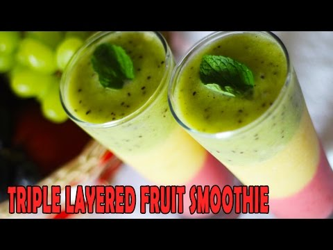 Healthy Fruit Smoothie Recipe | Tropical & Triple Layered | Kanak's Kitchen [HD]