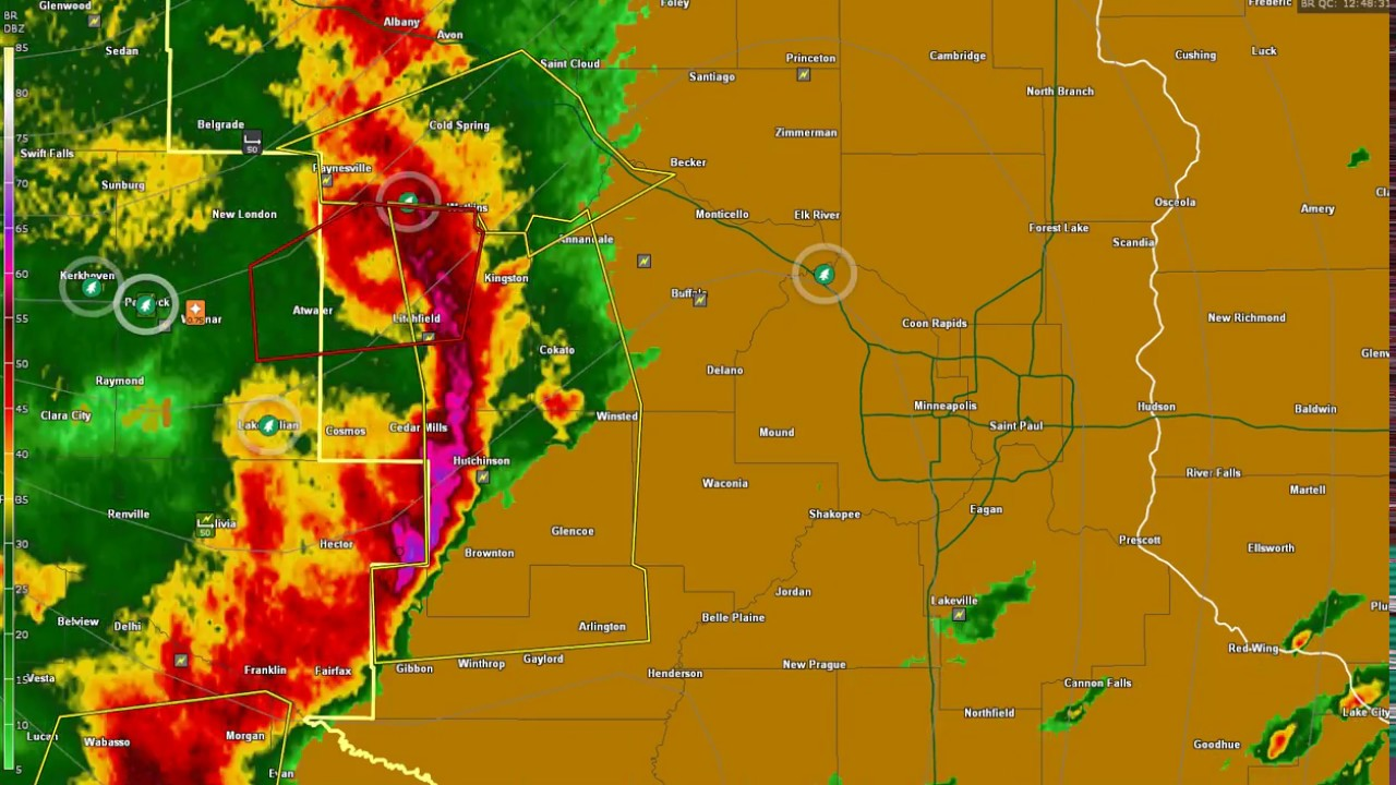 Arlington Weather Map.Radar Strong Bow Echo In Mn Causes Over 70 Reports Of Severe