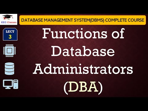 Functions of Database Administrators(DBA), DBMS Tutorial for Beginners in Hindi, English
