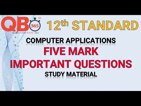 TN   12th Standard Computer Application Five Mark Important Questions With Answer Key - Full Portion