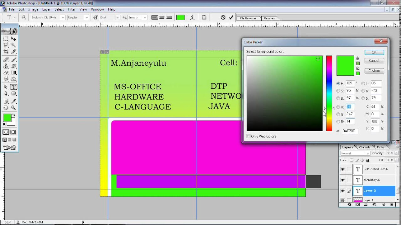 How to Create Visiting Card in photoshop(Anjimvideos) - YouTube