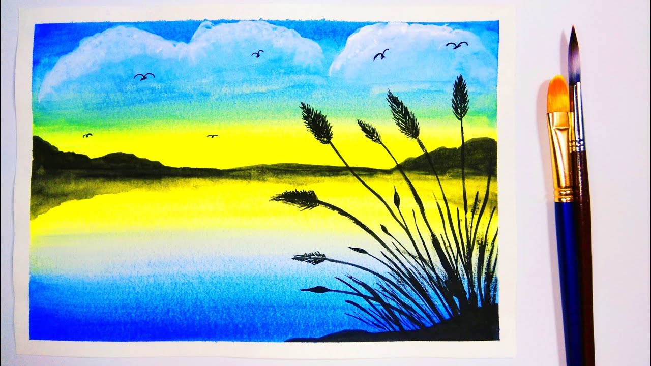 Easy Watercolor Painting For Beginners Sunset Step By Step Youtube