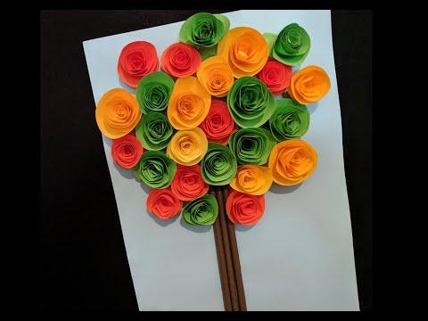 Осенняя поделка для школы. Осеннее дерево из бумаги.  Autumn Tree Made Of Paper. 紙樹. 紙で木を作る方法.