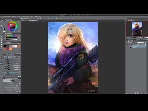 Digital painting of Young Sniper Wolf (speed process )