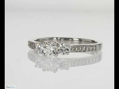 shelly 3 stone ring 0.64TCW 18K white gold