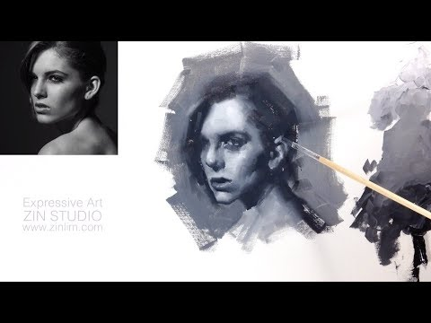 Oil Painting Demo: GREY Impressionism Monochrome Portrait.