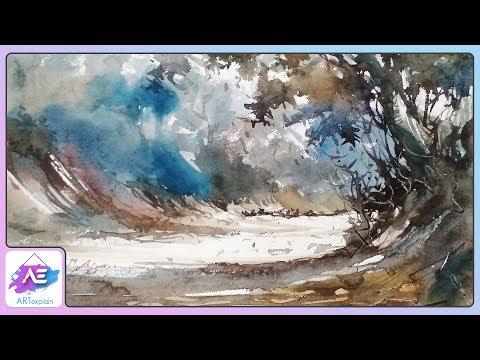 Watercolor Landscape Painting Jungle Tutorial | How to paint a landscape Painting | Art Explain