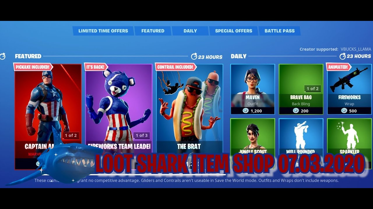 LOOT SHARK ITEM SHOP 07.03.2020.. STARS & STRIPES ARE BACK!