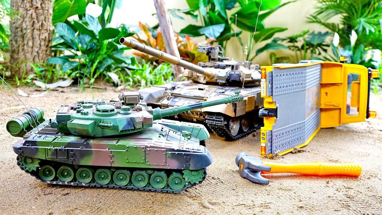 덤프트럭 중장비 장난감 탱크 자동차 모래놀이 Tank Toy with Dump Truck Play