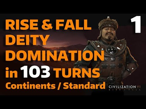 Civ 6: Rise&Fall - T103 Deity Domination - Mongolia - Part 1