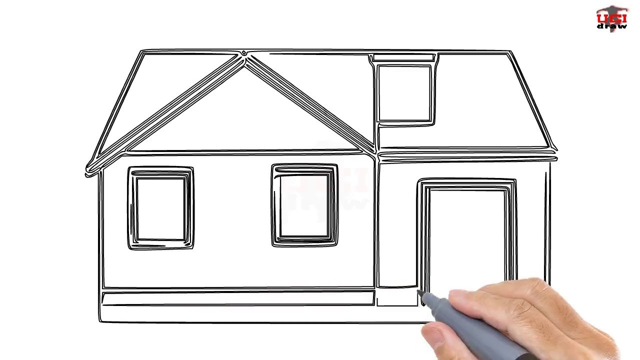 How to draw a house step by step easy for beginners kids for How to draw a two story house step by step