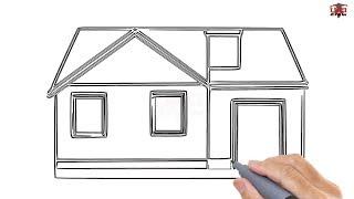 drawing sketch easy simple draw step houses drawings sketches beginners tutorial paintingvalley